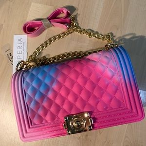 EMPERIA QUILTED JELLY PURSE - Pink/Blue & gold